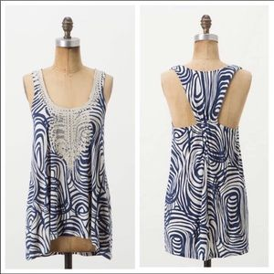 Anthropologie VanessaVirginia Blue Crochet Tank
